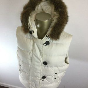GAP Button & Loop Fur Trimmed Hood White Down
